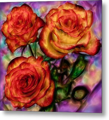 Metal Print featuring the digital art Red Roses In Water - Silk Edition by Lilia D