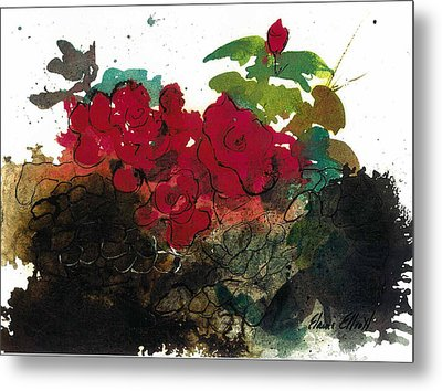 Metal Print featuring the painting Red Roses On The Rocks by Elaine Elliott