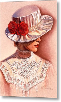 Metal Print featuring the painting Red Roses Satin Hat by Sue Halstenberg