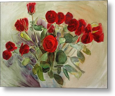 Red Roses Metal Print by Tanya Byrd