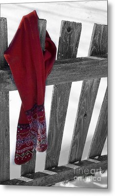 Red Scarf Hanging On Fence Metal Print by Birgit Tyrrell