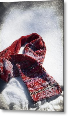 Red Scarf In Snow Metal Print by Birgit Tyrrell