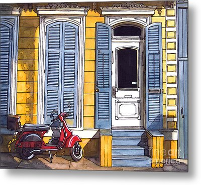 Red Scooter With Yellow House And Blue Shutters Metal Print by John Boles