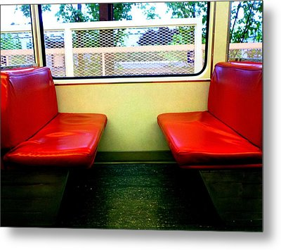 Red Seats Transportation Metal Print by Gina  Zhidov
