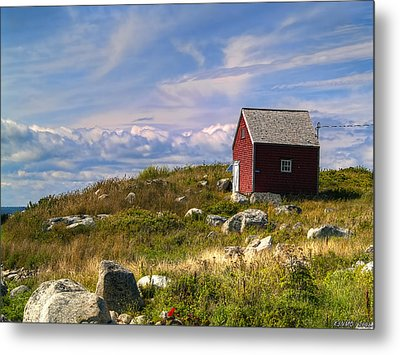 Red Shack By The Water Metal Print by Ken Morris