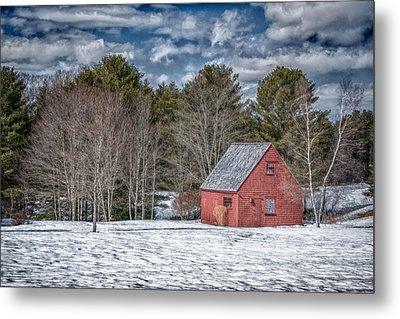 Red Shed In Maine Metal Print by Guy Whiteley