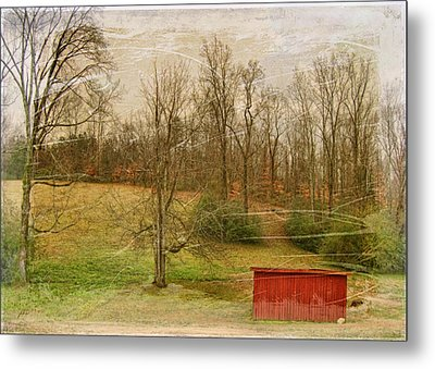 Red Shed Metal Print by Paulette B Wright
