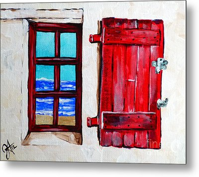 Red Shutter Ocean Metal Print by Jackie Carpenter