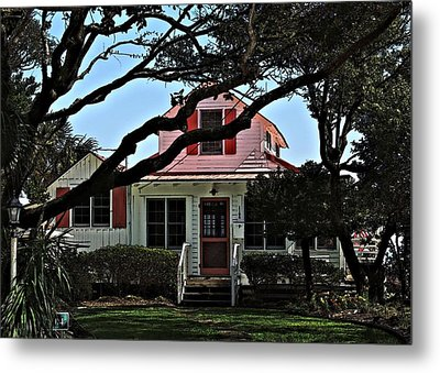 Metal Print featuring the photograph Red Shutters Cottage by Laura Ragland