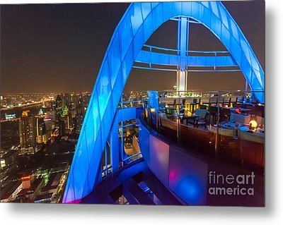 Red Sky Bar In Bangkok Thaila Metal Print by Fototrav Print