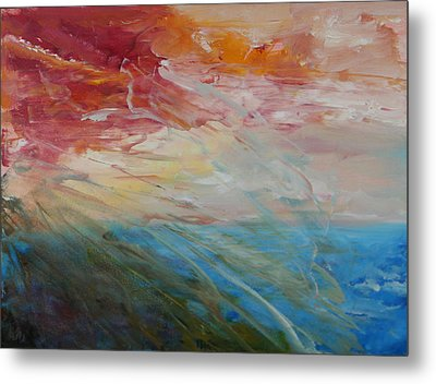 Metal Print featuring the painting Red Sky by Sandra Nardone