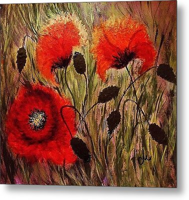 Metal Print featuring the painting Red Sparks... by Cristina Mihailescu