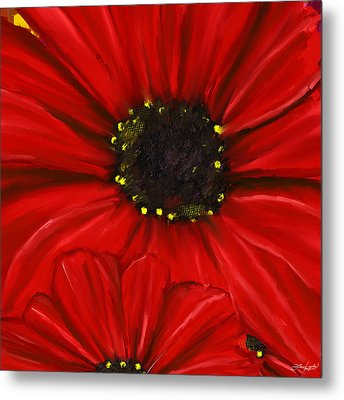 Red Spectacular- Red Gerbera Daisy Painting Metal Print