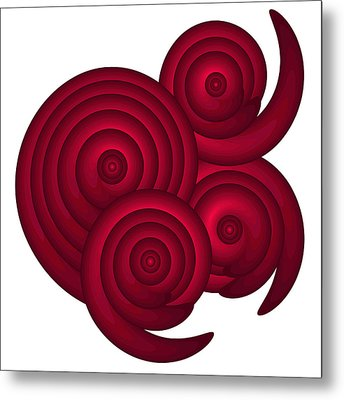 Red Spirals Metal Print by Frank Tschakert