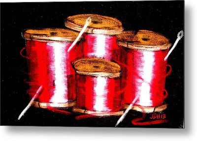 Metal Print featuring the drawing Red Spools 3 by Joseph Hawkins
