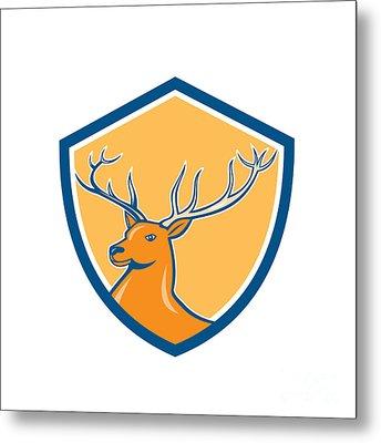 Red Stag Deer Head Shield Cartoon Metal Print by Aloysius Patrimonio