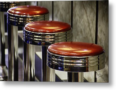 Red Stools Metal Print by Betty Denise