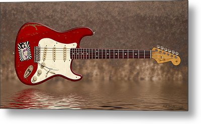 Red Strat 3 Metal Print by WB Johnston