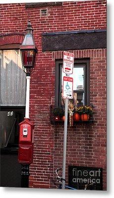 Red Street In Boston Metal Print by John Rizzuto