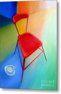 Red Studio Chair Metal Print by Frederick  Luff