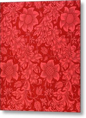 Red Sunflower Wallpaper Design, 1879 Metal Print