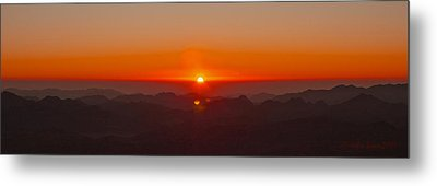 Metal Print featuring the pyrography Red Sunrise In Sinai Montains by Julis Simo