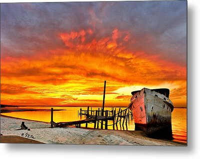 Red Sunset - Beached Ship At Sunset Metal Print