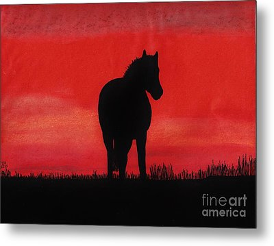 Red Sunset Horse Metal Print