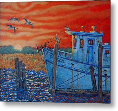 Red Sunset On Shem Creek Metal Print