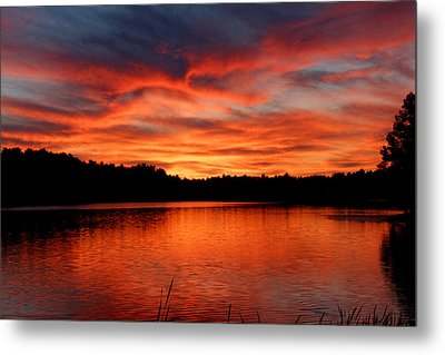 Red Sunset Reflections Metal Print