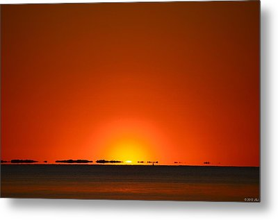Metal Print featuring the photograph Red Sunset With Superior Mirage On Santa Rosa Sound by Jeff at JSJ Photography