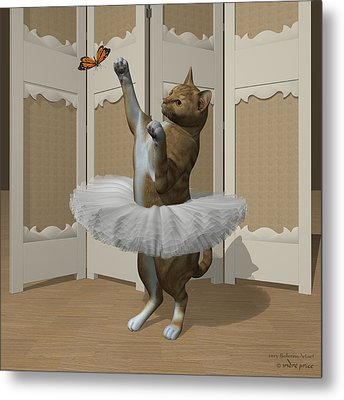 Red Tabby Ballet Cat On Paw-te Metal Print by Andre Price