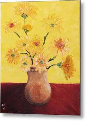 Red Table And Yellow Flowers Metal Print