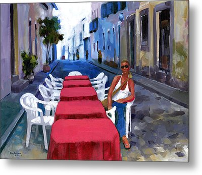 Red Tables In The Pelourinho Metal Print