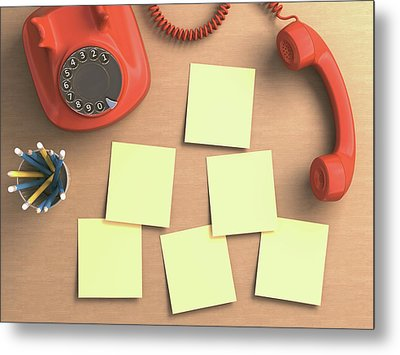 Red Telephone And Sticky Notes Metal Print