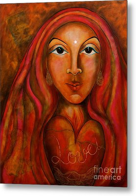 Metal Print featuring the painting Red Thread Madonna by Deborha Kerr