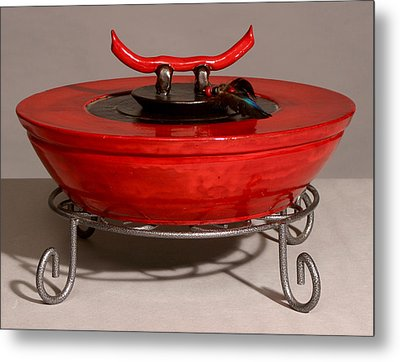 Red Tibetan Vessel Metal Print by Beth Gramith