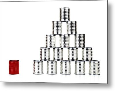 Red Tin Can Beside A Pyramid Metal Print