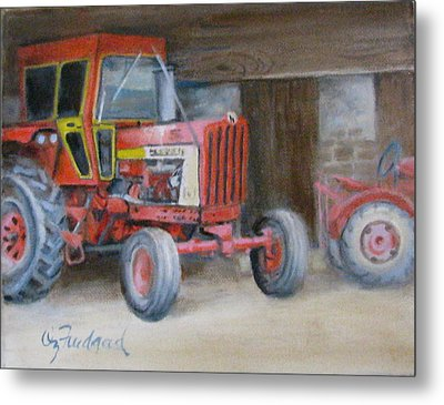 Red Tractor Metal Print by Oz Freedgood
