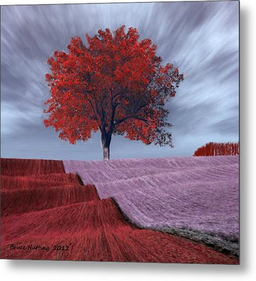 Metal Print featuring the painting Red Tree In A Field by Bruce Nutting