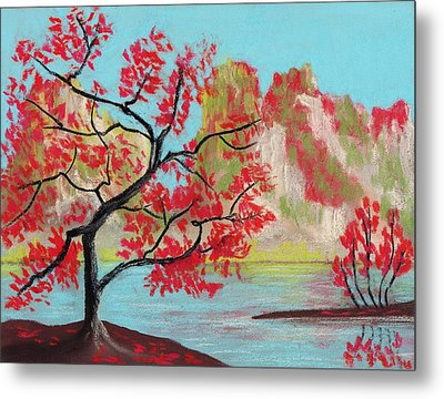 Red Trees Metal Print