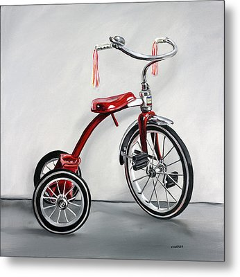Metal Print featuring the painting Red Tricycle 1 by Gail Chandler