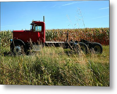 Red Truck In A Corn Field Metal Print