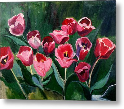 Metal Print featuring the painting Red Tulips In A Baker's Dozen by Betty Pieper