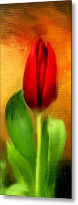 Red Tulips Triptych Section 1 Metal Print by Lourry Legarde