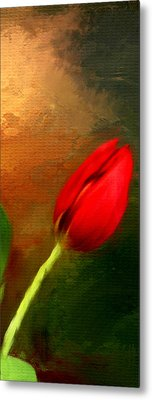 Red Tulips Triptych Section 3 Metal Print by Lourry Legarde
