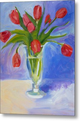 Red Tulips Metal Print by Valerie Lynch