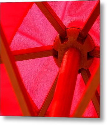 Red Umbrella Metal Print by Art Block Collections