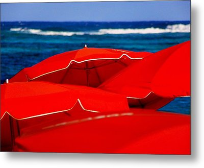 Red Umbrellas  Metal Print by Karen Wiles