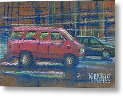 Metal Print featuring the painting Red Van by Donald Maier
